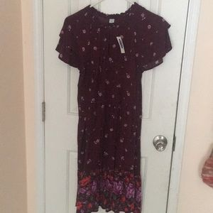 Maroon burgundy floral midi dress old navy